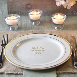 Personalized wedding reception dinner and dessert plates