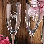 Engraved 25th anniversary toasting flutes set with silver text