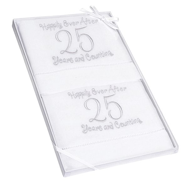 25th Anniversary Linen Guest Hand Towels