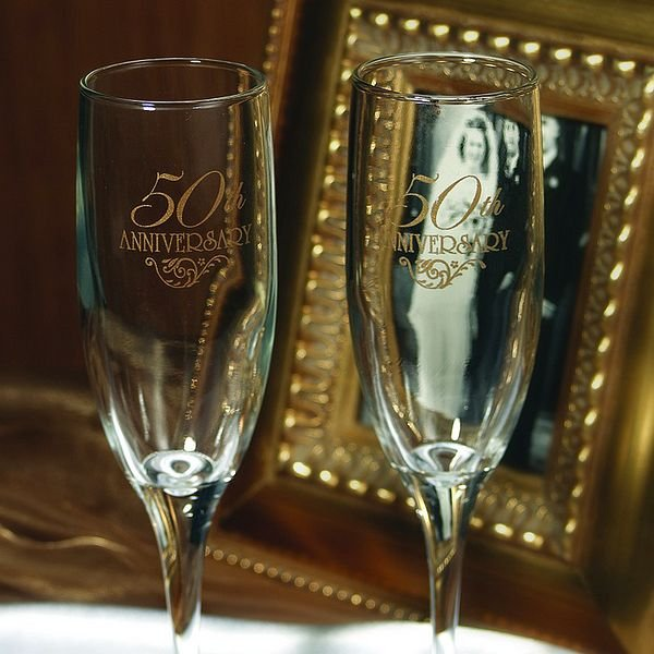 Engraved 50th anniversary toasting flute set