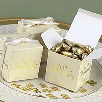 50th anniversary ivory favor boxes with gold foil design