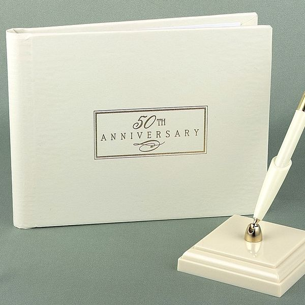 personalized ivory and gold 50th anniversary guest signature book