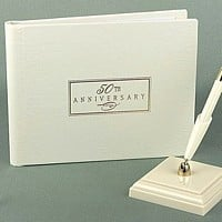 Personalized 50th anniversary ivory guest book with gold foil text