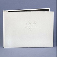 60th anniversary personalized white guest book with pearl foil accent