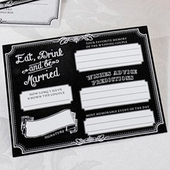 Blank Eat, Drink & Be Married wedding signature card - front