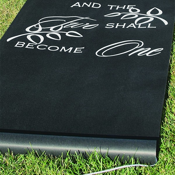 Two Shall Become One black aisle runner on grass