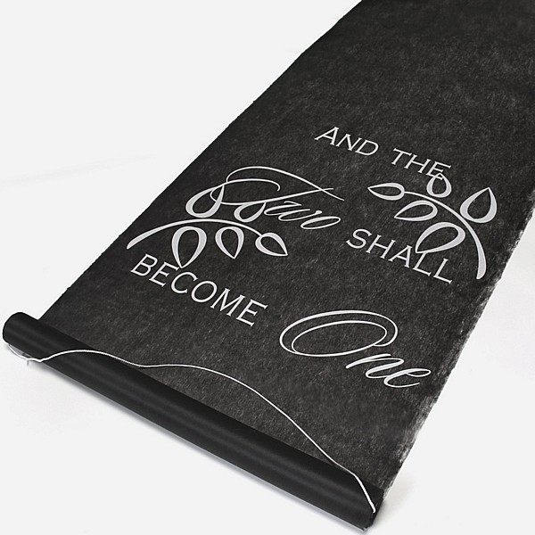 Black aisle runner with wording AND THE TWO SHALL BECOME ONE