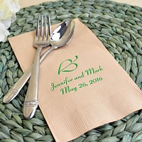 Personalized eco friendly kraft guest towel printed with leaf design L3, green imprint color, and coronet letter style