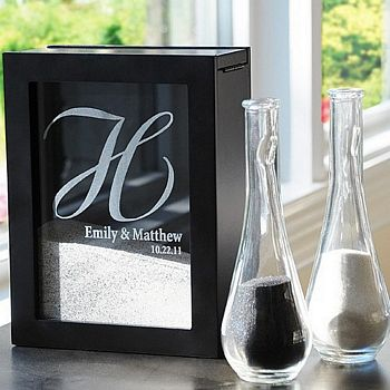 Black unity sand ceremony shadow box personalized with large initial, bride and groom's names and wedding date with sand pouring vases