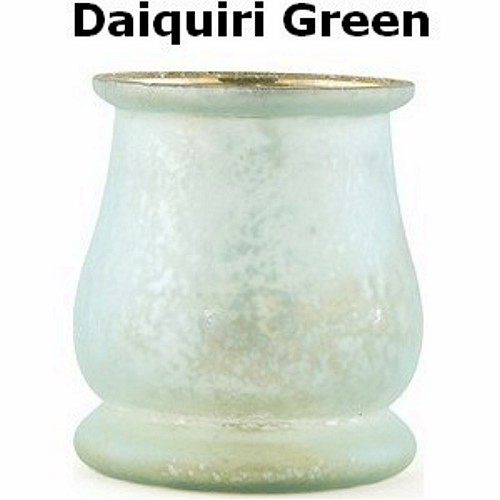 Daiquiri green colored bell shaped glass vase tealight holder