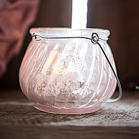 Old-fashion design pink fluted glass candle holder with wire handle