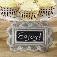 Vintage style decorative chalkboard with scalloped tin frame
