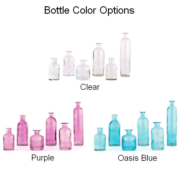Clear, blue, and purple glass decorative bottles in sets of six