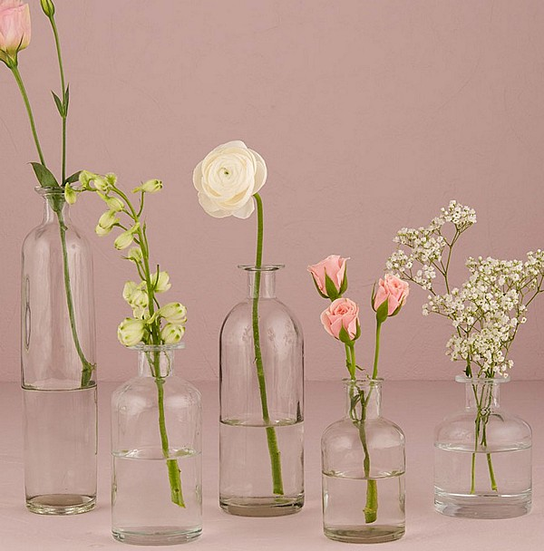 Clear flower vases in range of sizes