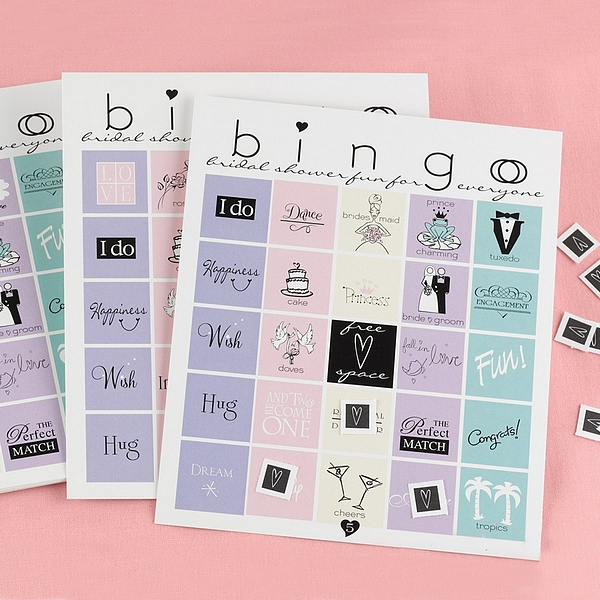 Bridal shower bingo card game with colorful wedding designs and heart game pieces