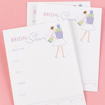 White fill-in-the-blank bridal shower invitation with whimsical cartoon bride