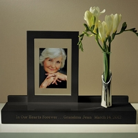 Personalized black wooden memorial photo display stand