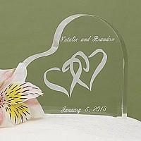 Personalized Linked Hearts acrylic wedding cake topper engraved with names and wedding date