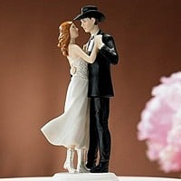 Dancing Western Wedding Couple Cake Topper