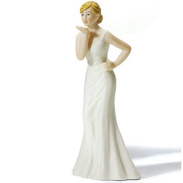 Bride cake topper blowing kiss