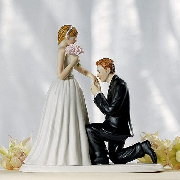 Groom On One Knee Romantic Wedding Cake Topper