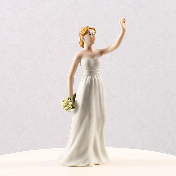 Bride cake topper in high five pose