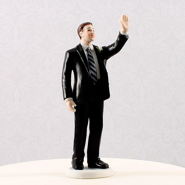 Groom cake topper in high five pose