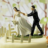 Race To The Alter bride and groom wedding cake topper