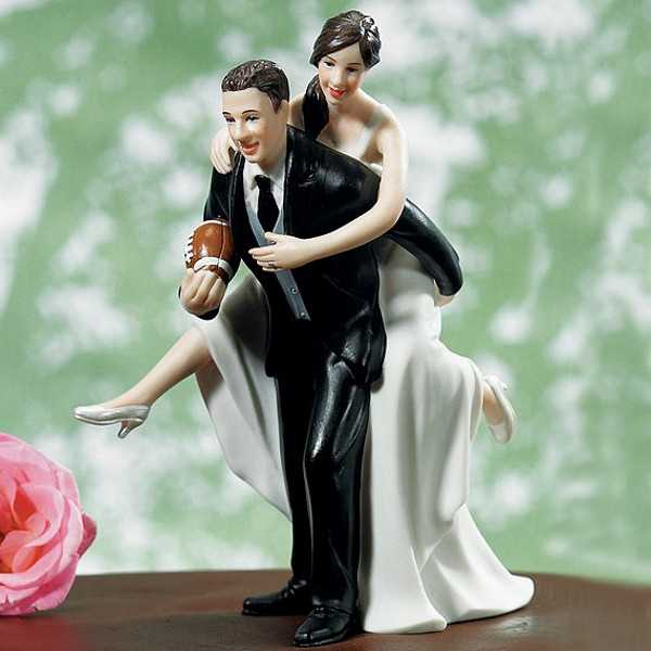 'Play Together, Stay Together' Football Wedding Cake Topper Figurine