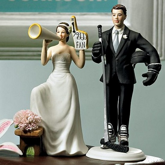 #1 Fan Cheering Bride Figurine Cake Topper paired with Hockey Player Groom Cake Topper
