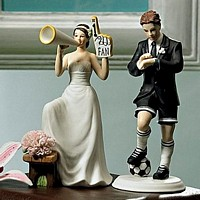 #1 Fan Cheering Bride Figurine Cake Topper paired with Soccer Player Groom Figurine Topper