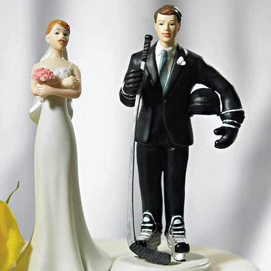 hockey player wedding cake topper hockey player groom cake topper 15259