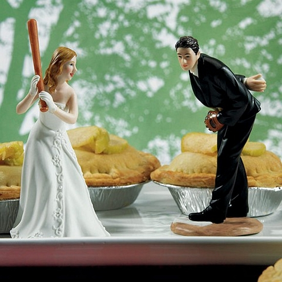 Batting Bride And Pitching Groom Baseball Wedding Cake Topper Set