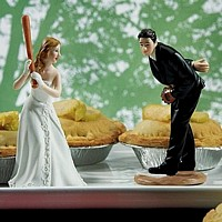 Sports theme wedding cake toppers