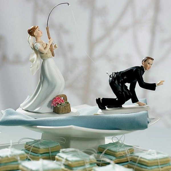 'Gone Fishing' Bride and Groom Cake Topper