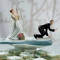 Gone Fishing' Bride and Groom Cake Topper