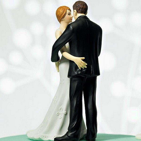 Main Squeeze Cheeky Bride and Groom Figurine Cake Topper - Back View