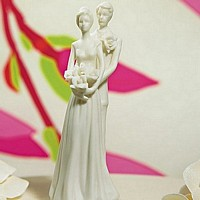 White porcelain bride and groom cake topper