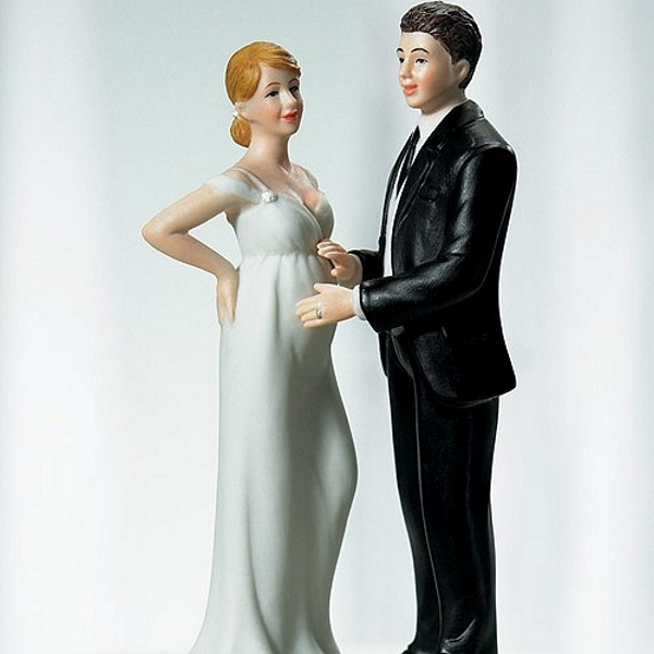 Expecting bride and groom cake toppers