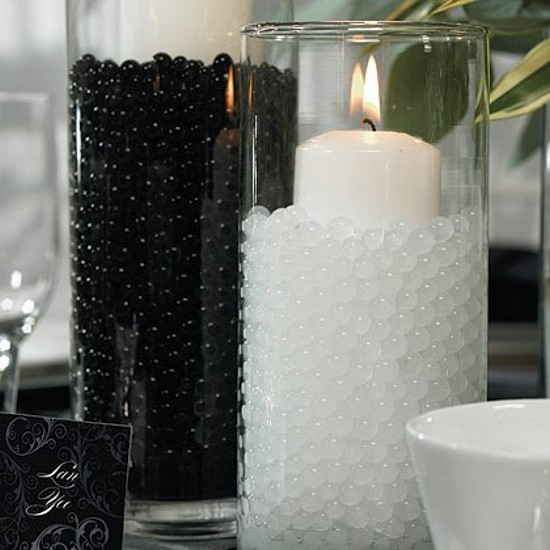 Water pearls shown in jet black and bright white