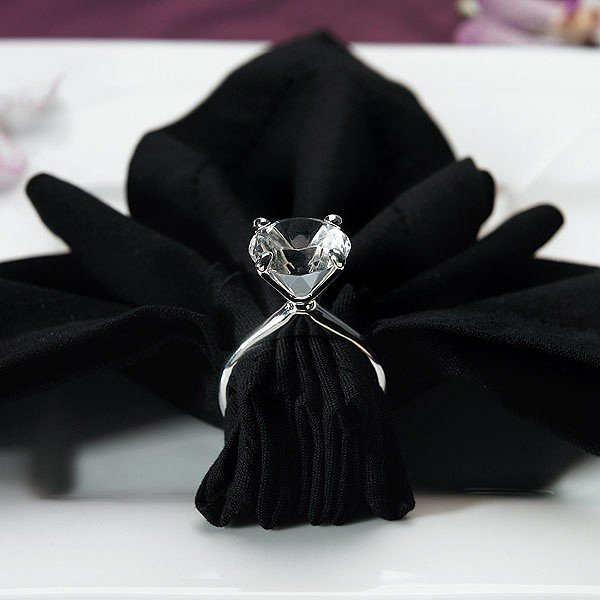 Silver plated diamond engagement ring design napkin holders