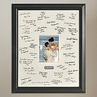 wedding guest signature mat with black frame and engraved plaque
