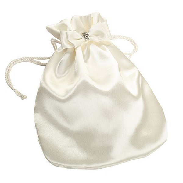 Ivory Satin Drawstring Money Bag - MyWeddingReceptionIdeas