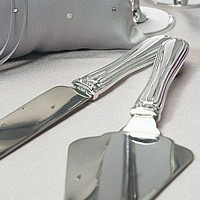 Silver plated cake server set with crystal band accents