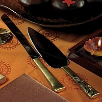 Two-tone gold engraved cake server set with Swarovski crystals and leaf pattern