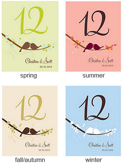 Personalized love bird table numbers in 4 assorted color options