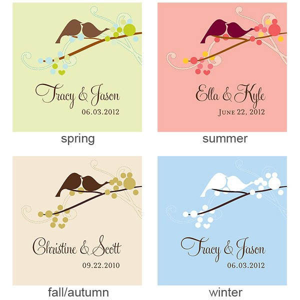 Personalized love bird favor tags in 4 assorted color options