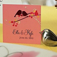 Personalized love bird square favor tag in summer