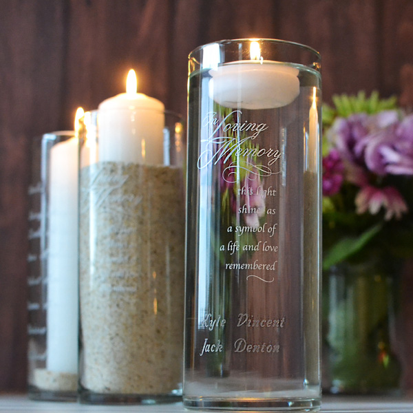 "9 x 3 clear glass memory cylinder with verse ""In Loving Memory - this light shines as a symbol of a life and love remembered"