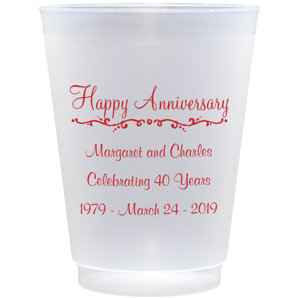 Clear frosted plastic cups with AN209 Happy Anniversary design and 3 lines of print in Fabulous lettering style and Dark Red imprint color
